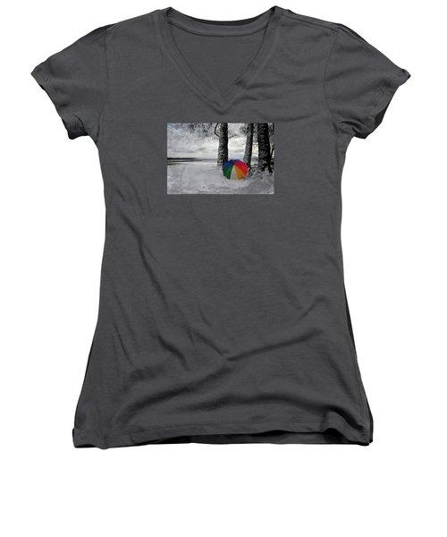 Color To The Melancholy Women's V-Neck T-Shirt (Junior Cut) by Randi Grace Nilsberg