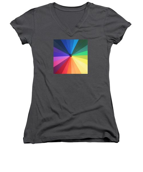 Color Wheel Women's V-Neck T-Shirt (Junior Cut) by Denise Fulmer