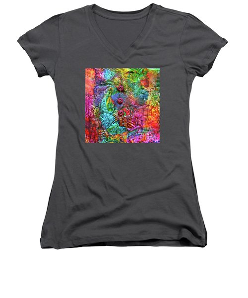 Color With Buttons Women's V-Neck