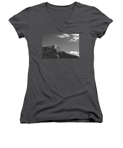 Women's V-Neck T-Shirt (Junior Cut) featuring the photograph Colorado Buffalo Rock With Waxing Crescent Moon In Bw by James BO Insogna