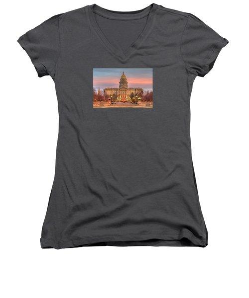 Women's V-Neck T-Shirt (Junior Cut) featuring the photograph Colorado Capital by Gary Lengyel