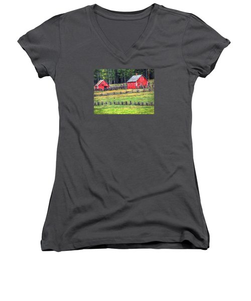 Colorado Countryside  Women's V-Neck T-Shirt (Junior Cut) by Charlotte Schafer