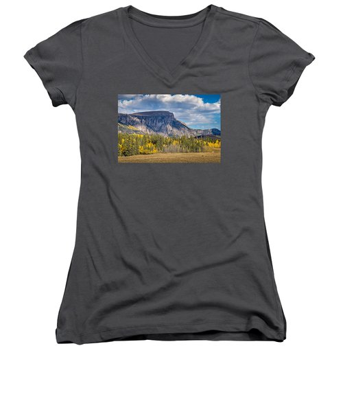 Colorado Fall Landscape With Aspen Trees Between Creede And Lake Women's V-Neck T-Shirt (Junior Cut) by John Brink