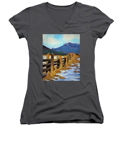Colorado Fence Line  Women's V-Neck T-Shirt (Junior Cut) by Jeff Kolker
