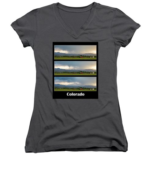 Women's V-Neck T-Shirt (Junior Cut) featuring the photograph Colorado Front Range Longs Peak Lightning And Rain Poster by James BO Insogna