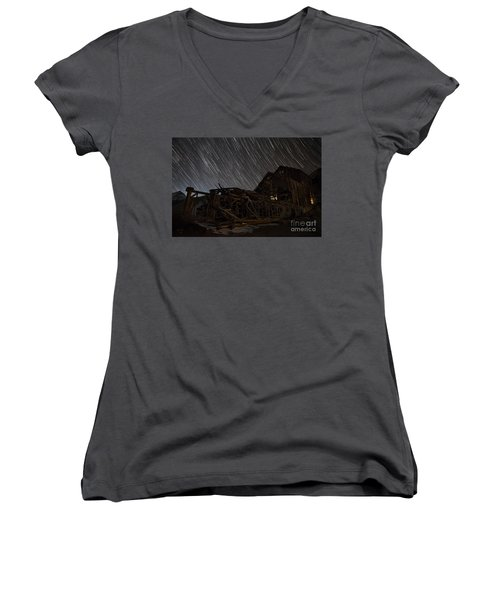 Colorado Gold Mine Women's V-Neck T-Shirt (Junior Cut) by Keith Kapple
