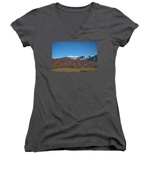 Colorado Great Sand Dunes With Falling Star Women's V-Neck T-Shirt (Junior Cut) by James BO Insogna