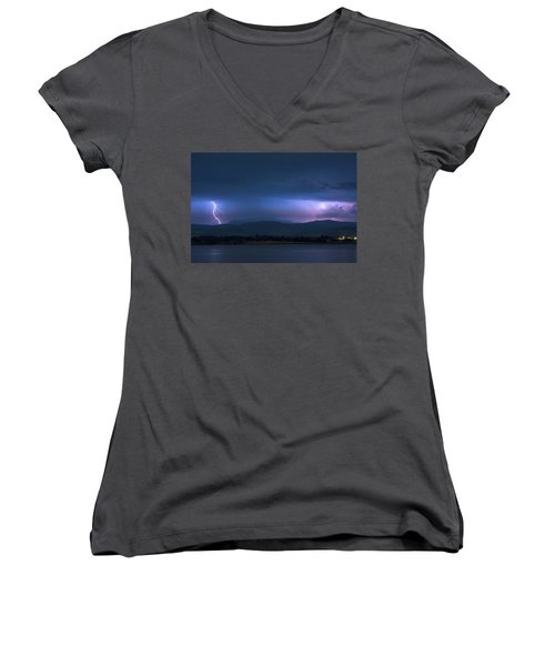 Women's V-Neck T-Shirt (Junior Cut) featuring the photograph Colorado Rocky Mountain Foothills Storm by James BO Insogna
