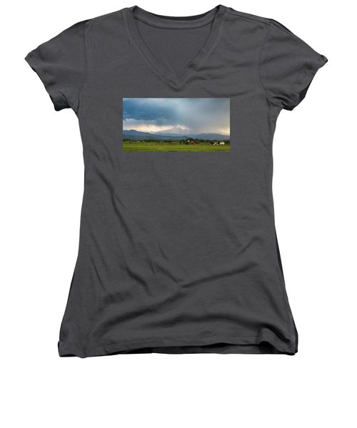 Women's V-Neck T-Shirt (Junior Cut) featuring the photograph Colorado Rocky Mountain Red Barn Country Storm by James BO Insogna