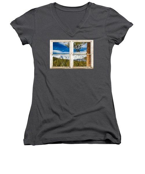 Colorado Rocky Mountain Rustic Window View Women's V-Neck