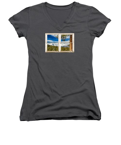 Colorado Rocky Mountain Rustic Window View Women's V-Neck