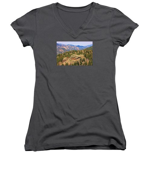 Women's V-Neck T-Shirt (Junior Cut) featuring the photograph Colorado Rocky Mountains by Sheila Brown