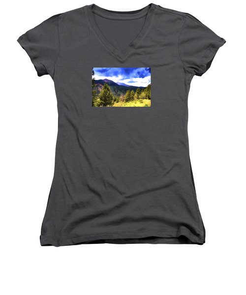 Colorado Watercolor Women's V-Neck T-Shirt (Junior Cut) by James Bethanis