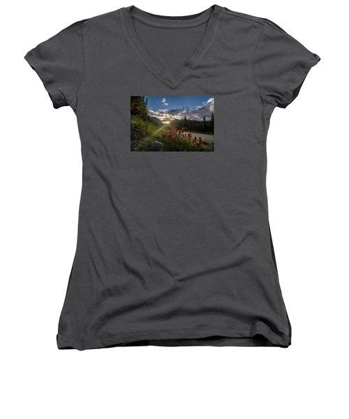 Colorado Wildflowers Under Evening Sun Women's V-Neck T-Shirt (Junior Cut) by Michael J Bauer