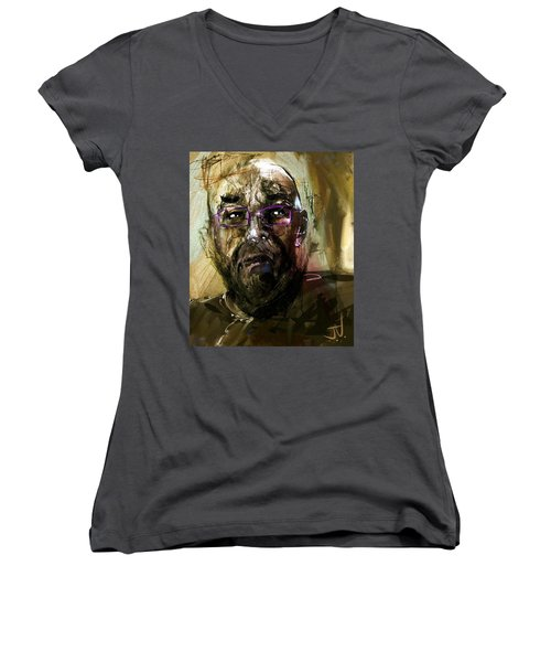 Colored Glasses Women's V-Neck T-Shirt (Junior Cut) by Jim Vance