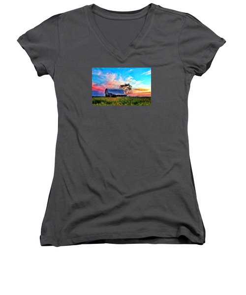 Colored Sunrise Women's V-Neck (Athletic Fit)