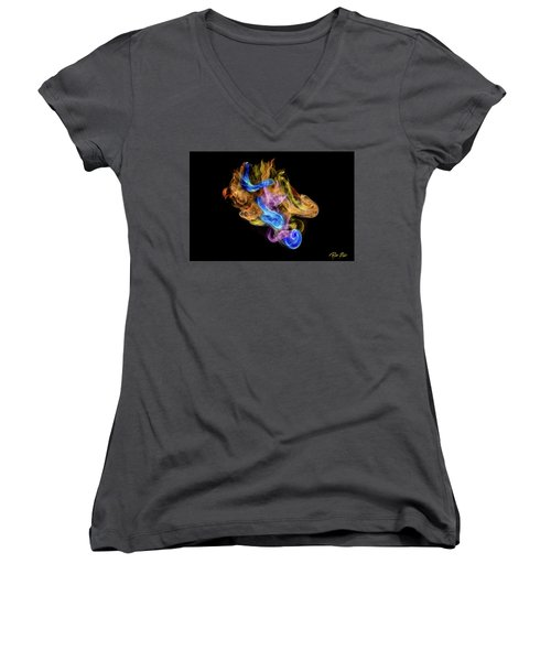 Women's V-Neck T-Shirt featuring the photograph Colored Vapors by Rikk Flohr