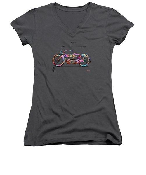 Colorful 1919 Harley-davidson Motorcycle Patent Women's V-Neck