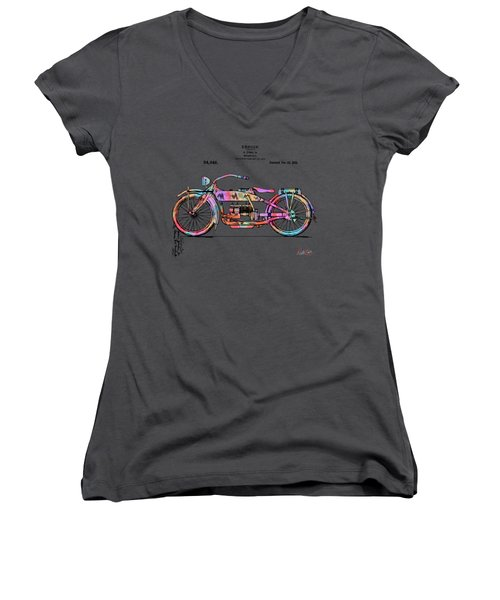 Women's V-Neck featuring the digital art Colorful 1919 Harley-davidson Motorcycle Patent by Nikki Marie Smith