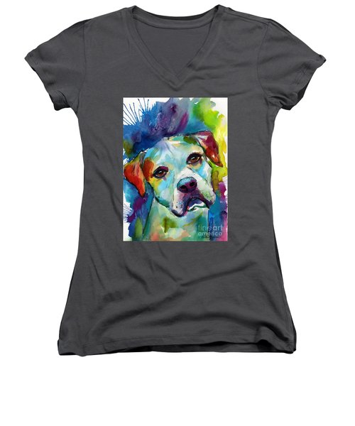 Colorful American Bulldog Dog Women's V-Neck
