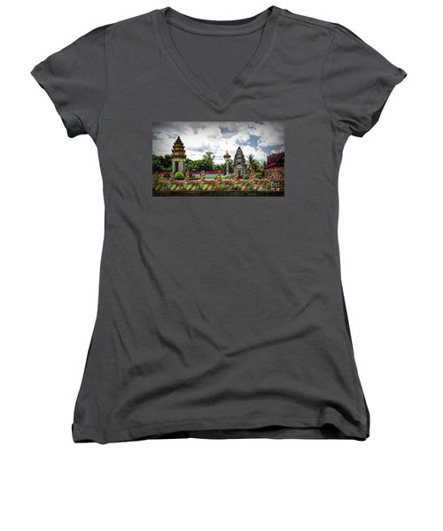 Colorful Architecture Siem Reap Cambodia  Women's V-Neck
