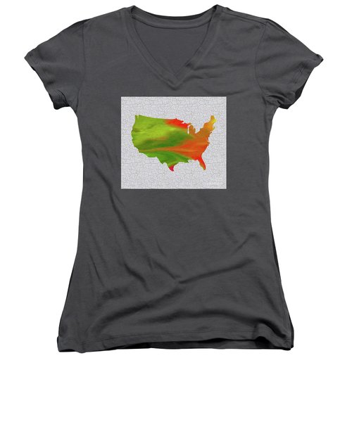 Colorful Art Usa Map Women's V-Neck T-Shirt (Junior Cut) by Saribelle Rodriguez