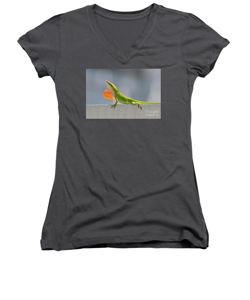 Colorful Carolina Anole Lizard Women's V-Neck