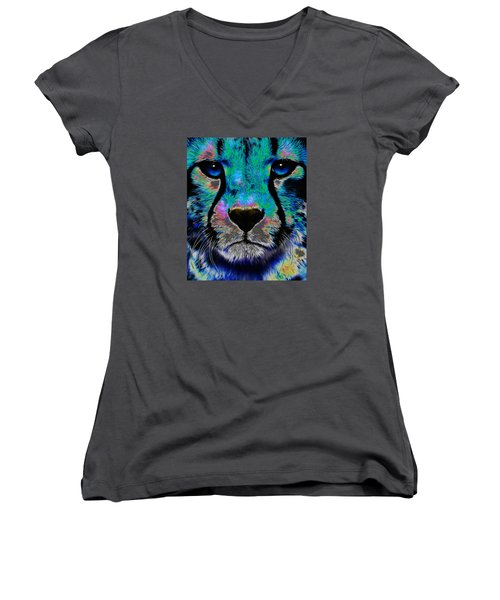 Colorful Cheetah Women's V-Neck (Athletic Fit)
