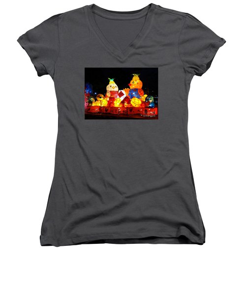 Women's V-Neck T-Shirt (Junior Cut) featuring the photograph Colorful Chinese Lanterns In The Shape Of Chickens by Yali Shi