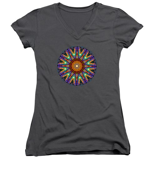 Colorful Christmas Kaleidoscope By Kaye Menner Women's V-Neck T-Shirt (Junior Cut) by Kaye Menner