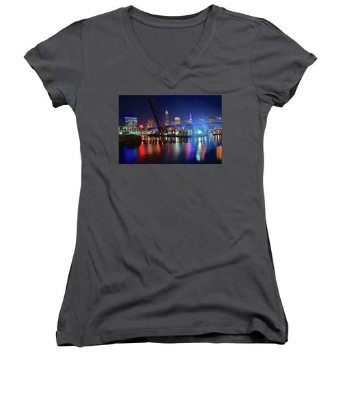 Women's V-Neck T-Shirt (Junior Cut) featuring the photograph Colorful Cleveland Lights Shimmer Bright by Frozen in Time Fine Art Photography