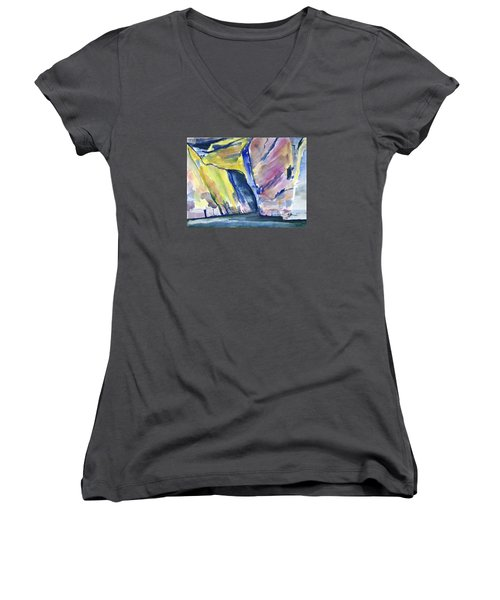 Colorful Cliffs And Cave Women's V-Neck (Athletic Fit)