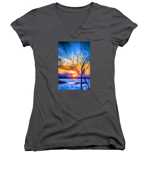 Colorful Cold Sunset Women's V-Neck (Athletic Fit)