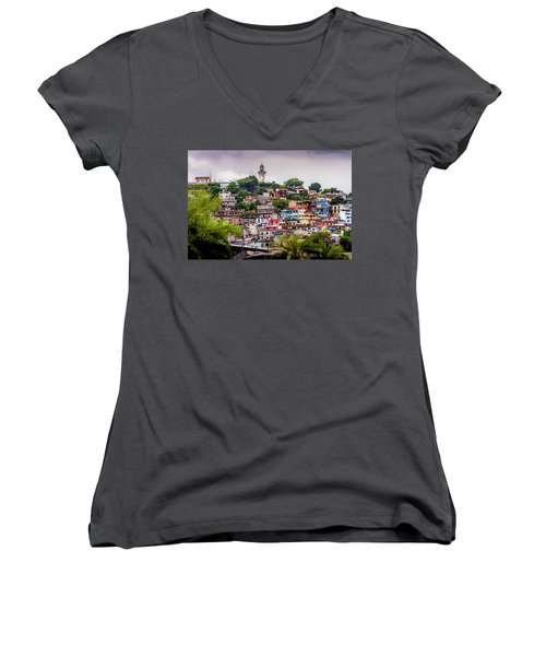 Colorful Houses On The Hill Women's V-Neck
