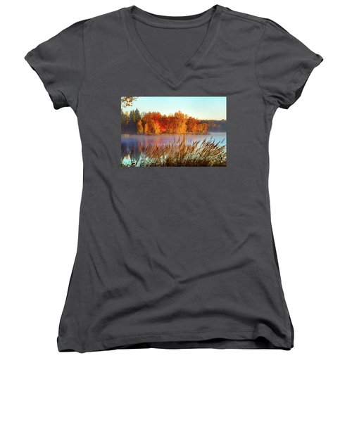 Colorful Dawn On Haley Pond Women's V-Neck