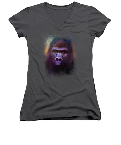 Colorful Expressions Gorilla Women's V-Neck T-Shirt (Junior Cut) by Jai Johnson