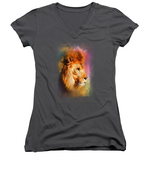 Colorful Expressions Lion Women's V-Neck T-Shirt (Junior Cut) by Jai Johnson