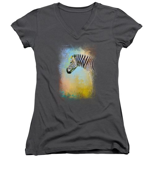Colorful Expressions Zebra Women's V-Neck T-Shirt (Junior Cut) by Jai Johnson