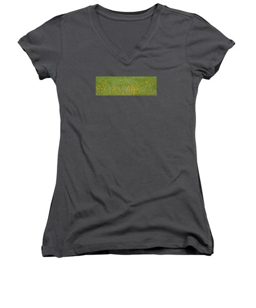 Women's V-Neck T-Shirt (Junior Cut) featuring the photograph Colorful Field by Wanda Krack