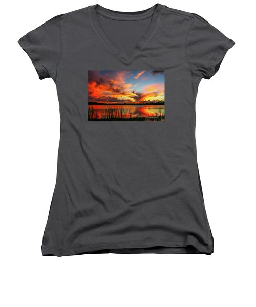 Colorful Fort Pierce Sunset Women's V-Neck T-Shirt (Junior Cut) by Tom Claud
