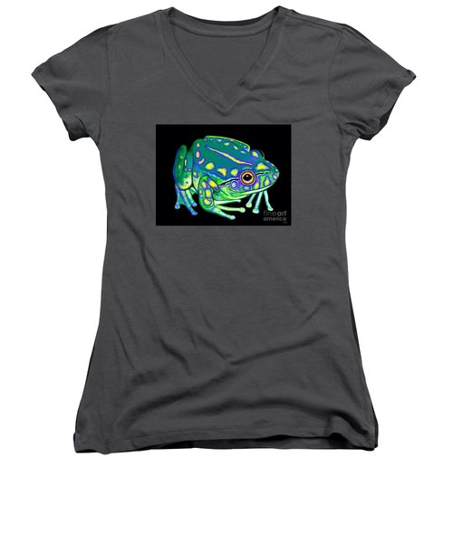 Women's V-Neck T-Shirt (Junior Cut) featuring the painting Colorful Froggy 2 by Nick Gustafson