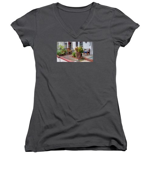 Colorful Front Porch Patio Women's V-Neck (Athletic Fit)