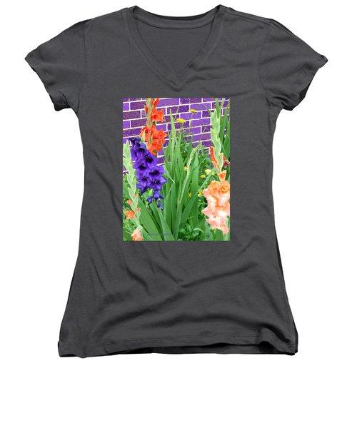 Colorful Gladiolas Women's V-Neck