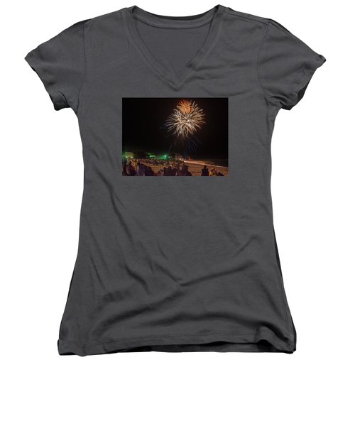 Women's V-Neck T-Shirt (Junior Cut) featuring the photograph Colorful Kewaunee, Fourth by Bill Pevlor