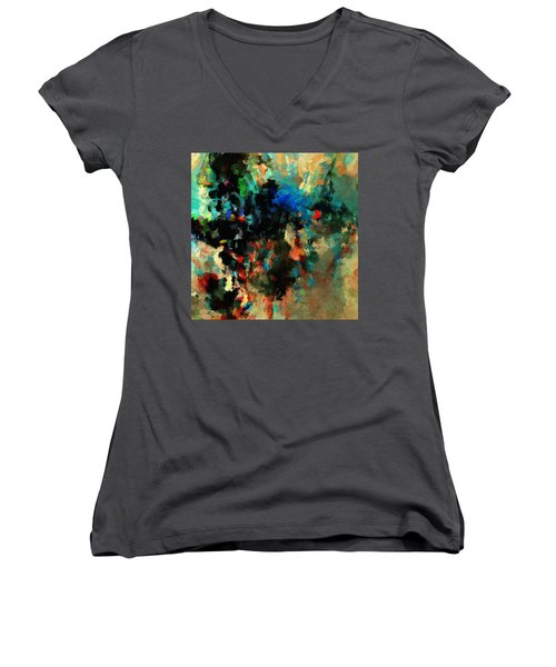 Women's V-Neck T-Shirt (Junior Cut) featuring the painting Colorful Landscape / Cityscape Abstract Painting by Ayse Deniz