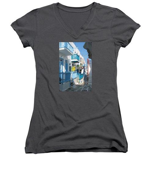 Women's V-Neck T-Shirt (Junior Cut) featuring the photograph Colorful Mykonos by Carla Parris