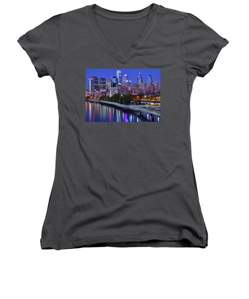 Women's V-Neck T-Shirt (Junior Cut) featuring the photograph Colorful Philly Night Lights by Frozen in Time Fine Art Photography