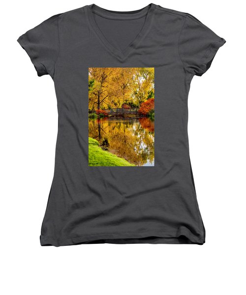 Women's V-Neck T-Shirt (Junior Cut) featuring the photograph Colorful Reflections by Kristal Kraft