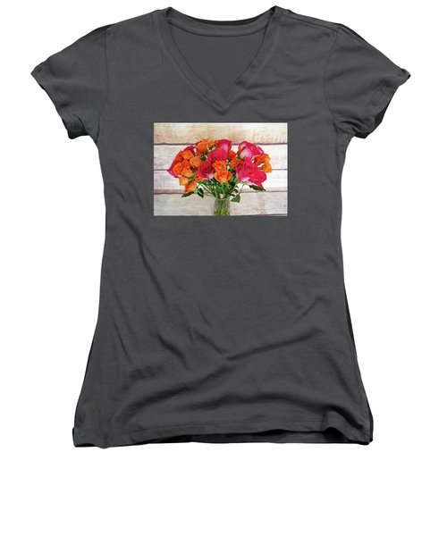 Colorful Rose Bouquet Women's V-Neck
