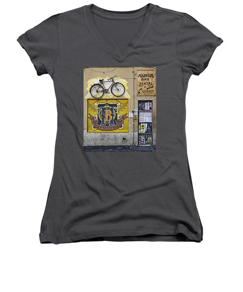 Colorful Signage In Palma Majorca Spain Women's V-Neck T-Shirt (Junior Cut) by Richard Rosenshein